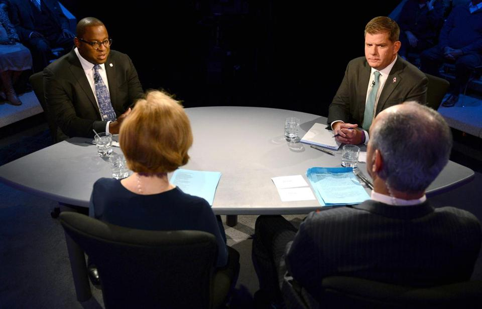 Mayor Martin J. Walsh (right) and Councilor Tito Jackson (left) debated at WGBH. Jackson is critical of the BPDA despite Walsh's changes.
